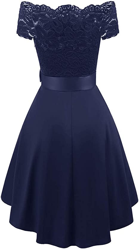 YWLINK damska elegancka sukienka koktajlowa z koronką, patchwork, mini-szyfon, sukienka wieczorowa z koronką, sukienka wieczorowa, wieczorowa, wieczorowa, dla druhny: Odzież