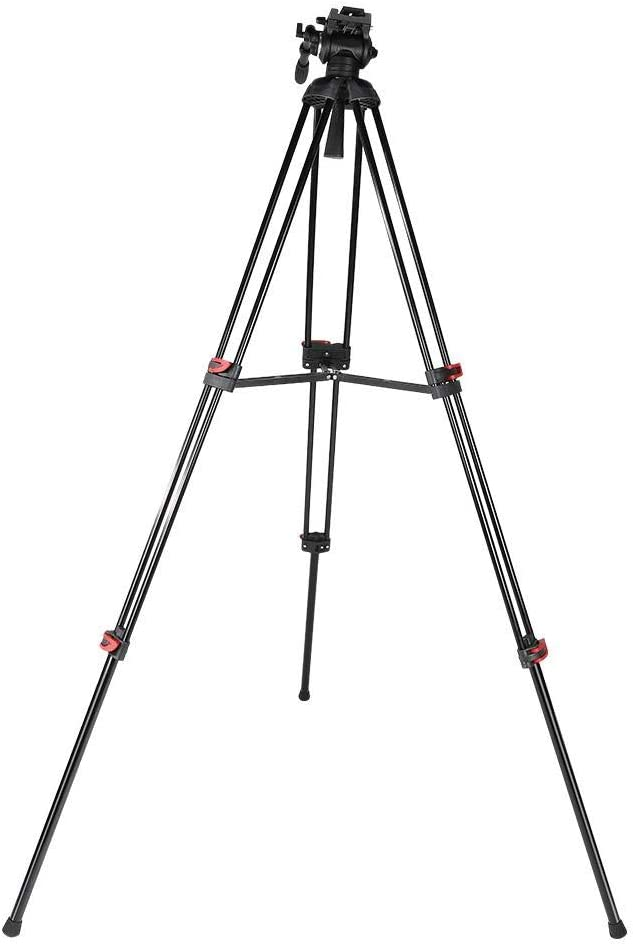 Mugast Professional Camera Tripod Adjustable Tripod Stand with Fluid Pan Head Support 360 Degrees Shooting Compatible with DSLR//DV Camera