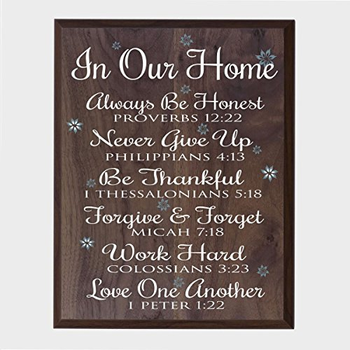In Our Home Family wedding anniversary Housewarming Gift for husband wife Parents, New Home Christian gift ideas 12 Inches w X 15 Inches By Dayspring Milestones (Walnut)