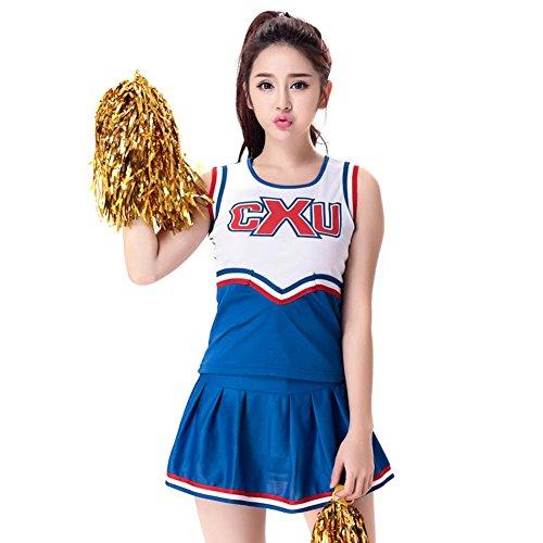 Goodkids Women's School Girls Musical Party Halloween Cheer Leader Costume Outfit Halloween Cosplay Fancy Dress (XXL, (Blue Cheerleading Halloween Costumes)