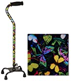 NOVA Designer Quad Cane, Lightweight Four Legged Cane with Soft Grip Handle, Height (for Users 4'11' - 6'4') & Left or Right Adjustable, Butterflies Design