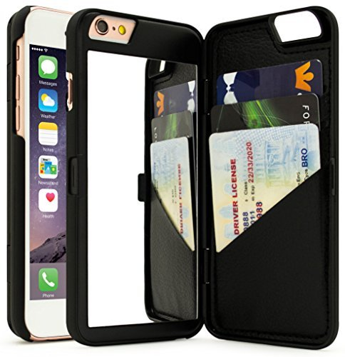 iphone 7 case, bastex black hidden back mirror wallet case with stand feature and card holder for apple iphone 7image unavailable image not available for color iphone 7 case