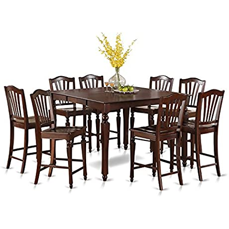 East West Furniture CHEL9 MAH W 9 Piece Gathering Table Set