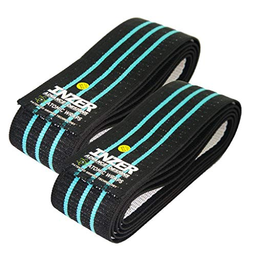 Inzer Atomic Knee Wraps (Pair) - Powerlifting Weightlifting Crossfit Strength Training (Blue, 2.5m)
