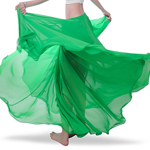 Belly Tribal Dancing (ROYAL SMEELA Chiffon Belly Dance Skirt for Women Belly Dancing Costume Outfit Tribal Maxi Full Skirts Solid Color Skirt Voile, Green)
