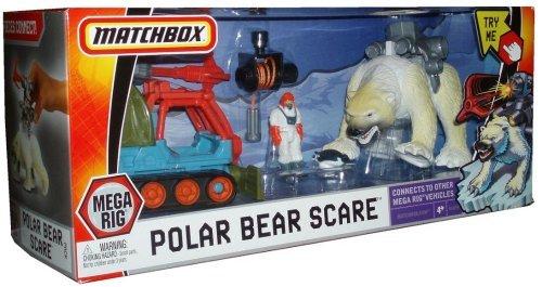 - Matchbox Mega Rig Adventure - Polar Bear Scare with Retractable Capture Rope, Tundra Tent, Matchbox Man, Ice Plow, Net Launcher, Polar Bear, Capture Collar and Baby Penguin