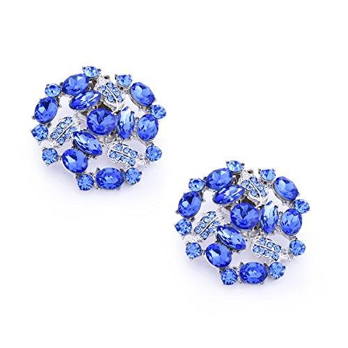 ElegantPark AM Women Rhinestones Decoration Wedding Party Shoe Clips 2 Pcs Blue by ElegantPark