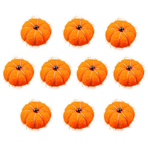Wool Felt Pumpkin Pom Poms Fall Craft Ball Garland Baby Shower Birthday Party Decoration -Pack of 10