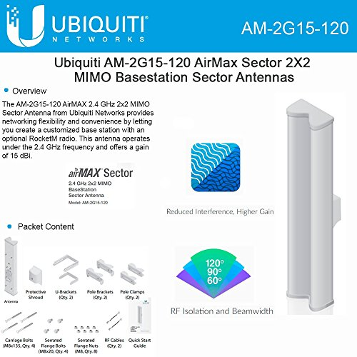 Ubiquiti AM-2G15-120 AirMax Sector 2G-15-120 15dBi 120deg works w/ RocketM2 by Ubiquiti Networks