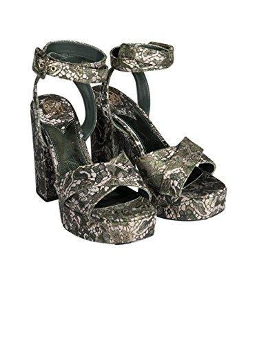 ASH Damen Sandale Boom mit Stoffüberzug Gemustert Moss