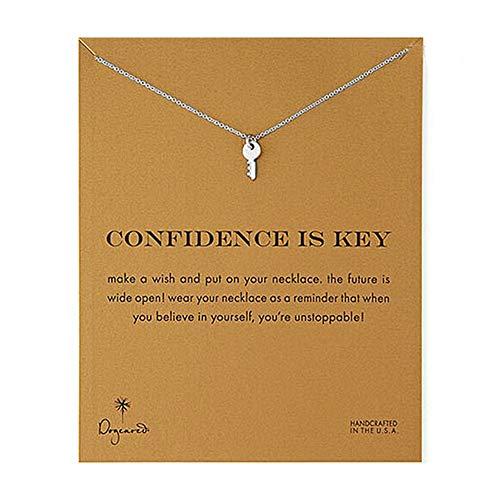 LANG XUAN Friendship Key Necklace Lucky Elephant Star Pearl Circle Pendant Necklace for Women Gift Card (Key Silver)