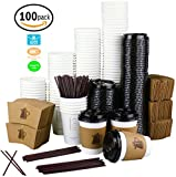 Premium 12oz. Disposable Paper Coffee Cups with Lids (400-piece set) Extra Strong Bio-Degradable for Home, Office, Restaurant, coffee shops and School Cafeteria | Great for Picnic, business meetings, parties, reunions | Improved Snap Fit Lids and Leak-proof