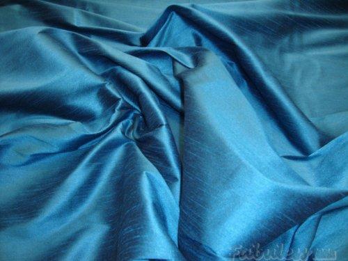 Blue Dupioni Silk - Horizon Blue Shantung Dupioni Faux Silk