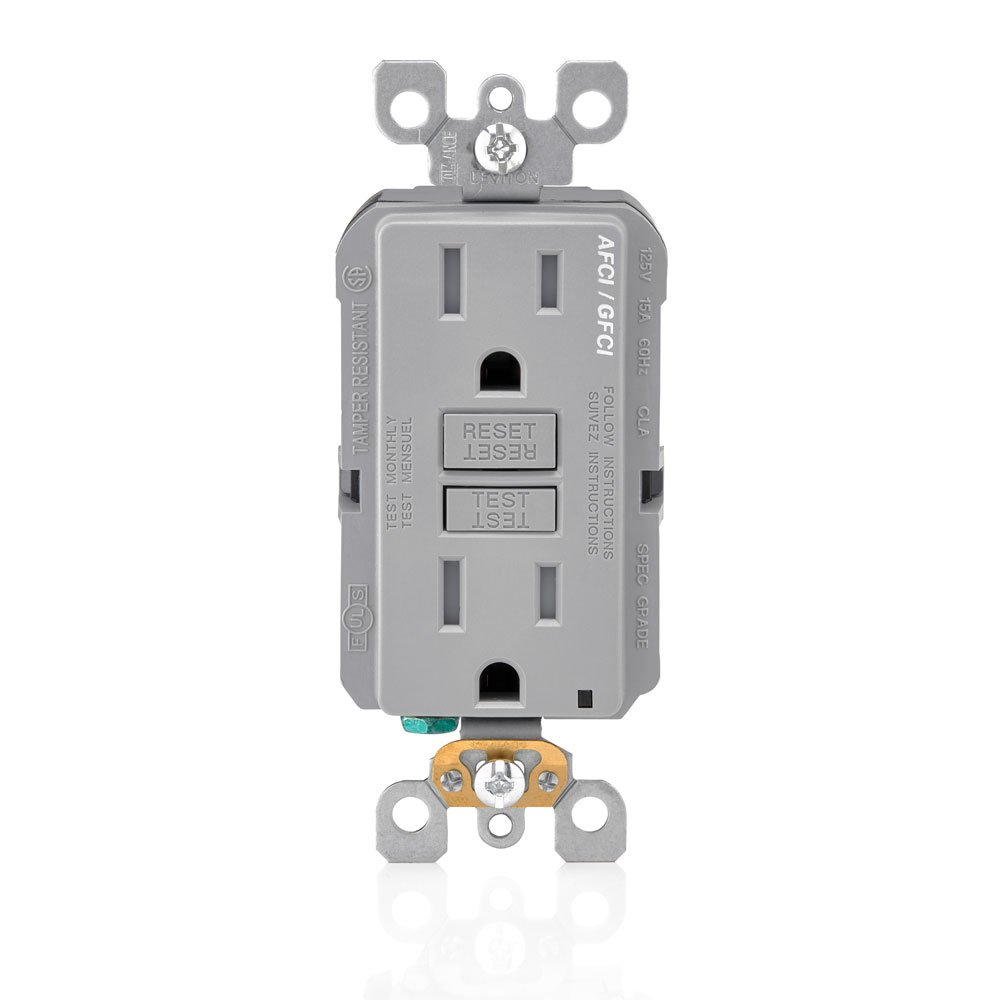 Leviton Agtr1 W Smartlockpro Dual Function Afci Gfci Receptacle 15 Outlet Wiring Diagram Amp 125v White