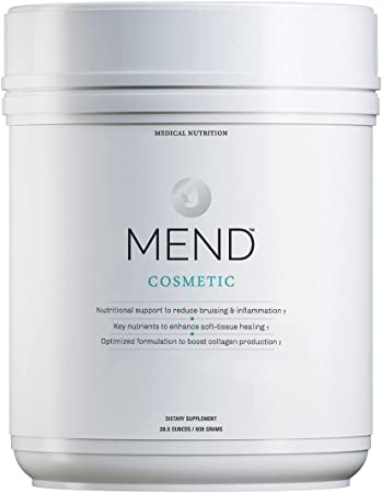 MEND Cosmetic - Skin Healing Supplement Powder with Arnica, Whey Protein, Collagen, and Bromelain - Chocolate, 20 Servings
