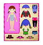 Grizzly Wooden Toys Dress-Up Girl Puzzle Shape Board Game - For Kids (Girl)