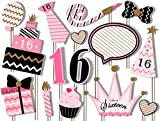 Sweet 16 Birthday Elegant Pink and Gold Photo Booth Props Kit - 20 Pack Party Camera Props Fully Assembled