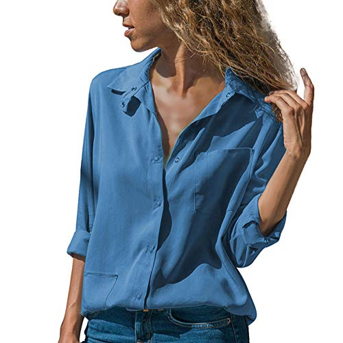 PASATO Women Casual V Neck Solid Turn-Down Collar Long Sleeve Button Down Shirts Pocket Button Tops with Front Pockets(Blue,XL=US:L) -