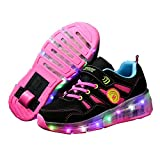 Ufatansy LED Fashion Sneakers Kids Girls Boys Light Up Wheels Skate Shoes Comfortable Mesh Surface Roller Shoes Thanksgiving Christmas Day Best Gift