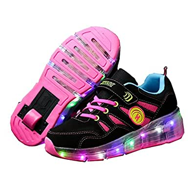 Ufatansy CPS LED Fashion Sneakers Kids Girls Boys Light Up Wheels Skate Shoes Comfortable Mesh Surface Roller Shoes Thanksgiving Christmas Day Best Gift Pink Size: 1 Little Kid