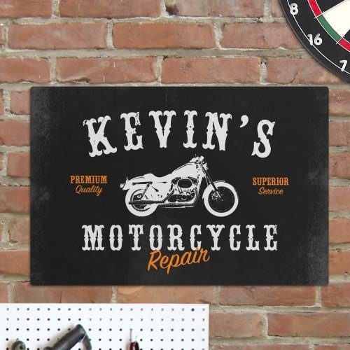 Personalized Motorcycle Repair Sign  18 X 12