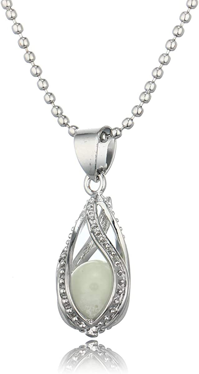 Glowing Necklace Luminous Bead Mermaid Pendant Hollow Spiral Water Drop Silver color Jewellery