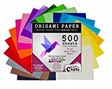 Arts & Crafts : Origami Paper 500 Sheets, Premium Quality for Arts and Crafts, 6-inch Square Sheets, 20 Vivid Colors, Same Color on Both Sides, 100 Design E-Book Included (See back of the cover for download info)