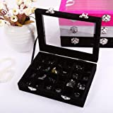 Novadeal 24 Grids PU Velour Leather Multipurpose Jewellery Storage Box Ring/Earrings/Necklace Tray Display Case Organizer - Black
