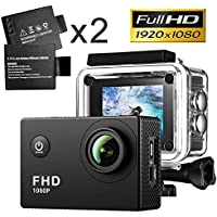 Action Camera,Full HD 1080P Sport Camera 2.0 Inch LCD Display 120 Degree Wide Angle Lens Outdoor Waterproof Camera Recorder Include 2pcs Battery