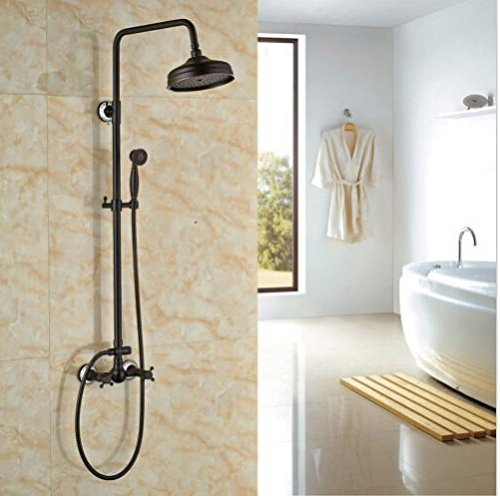 Gowe Oil-rubbed Bronze Bath Rainfall Shower Set 8 Top Showerhead with Hand Spray 1