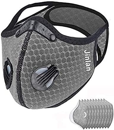 Jinlan with Filter,Sports Face, 1Filters and 10 Valves Included,Men's and Women's Universal,Suitable for Woodworking, Outdoor Activities(Gray)