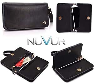 "Black Genuine Leather|Devine| Clutch Phone Cover Wallet Pouch Fits Huawei G7300 + NuVur &153; Key Chain ""SSMLVVK1"""