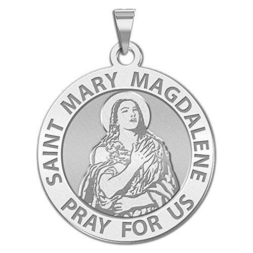 [Saint Mary Magdalene Religious Medal - 1 Inch Size of a Quarter in Solid 14K White Gold] (14k White Gold Religious Medal)