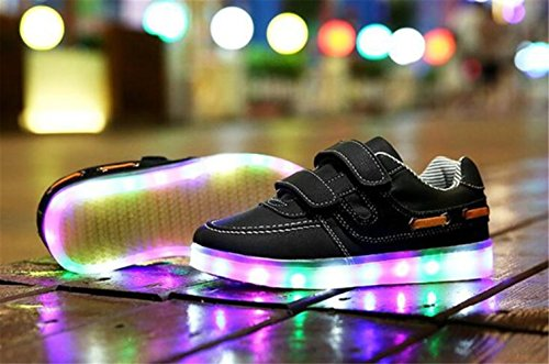 (Present:kleines Handtuch)JUNGLEST® Unisex Junge Mädchen Colorful Farbe LED Leuchtend Aufladen USB Kinderschuhe Paare Schuhe Herbst und Winter Sport schuhe Frei Schwarz
