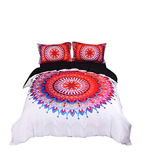 (Togethor Bedding Quilt Cover Set of 3 - Super Soft Double-Layer Brushed Microfiber Hotel Series - with Digital Printed Three-Piece Bedding (no Sheets))
