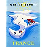 Vintage Travel FRANCE for WINTER SPORTS c1948 250gsm Gloss Art Card A3 Reproduction Poster by World of Art