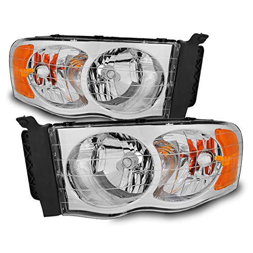For 02-05 Dodge Ram Replacement Headlights Driver Left + Passenger Right Head Lamps Pair