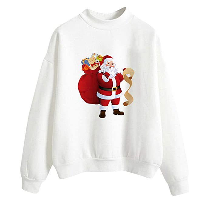 FEDULK Clearance Christmas Women Pullover Stanta Claus Print Blouse Casual Sweatshirt(White ,US Size