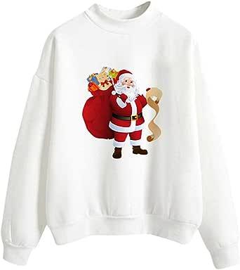 Fossen MuRope Sudadera Navidad Mujer sin Capucha Invierno - Jersey Suéter de Navidad para Mujer Impresión de 3D de Santa Claus - Vestido Hoodies ...