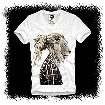 f5d8205053b286 NEONBLACK HERREN V T-SHIRT WEISS RASTAFARI LION HIPSTER DOPE WASTED YOUTH  DOPE DC