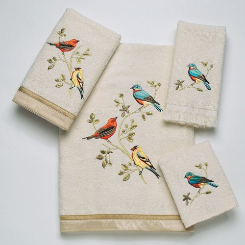 Avanti Linens Gilded Birds  Embroidered 4-Piece Decorative Towel Set Ivory