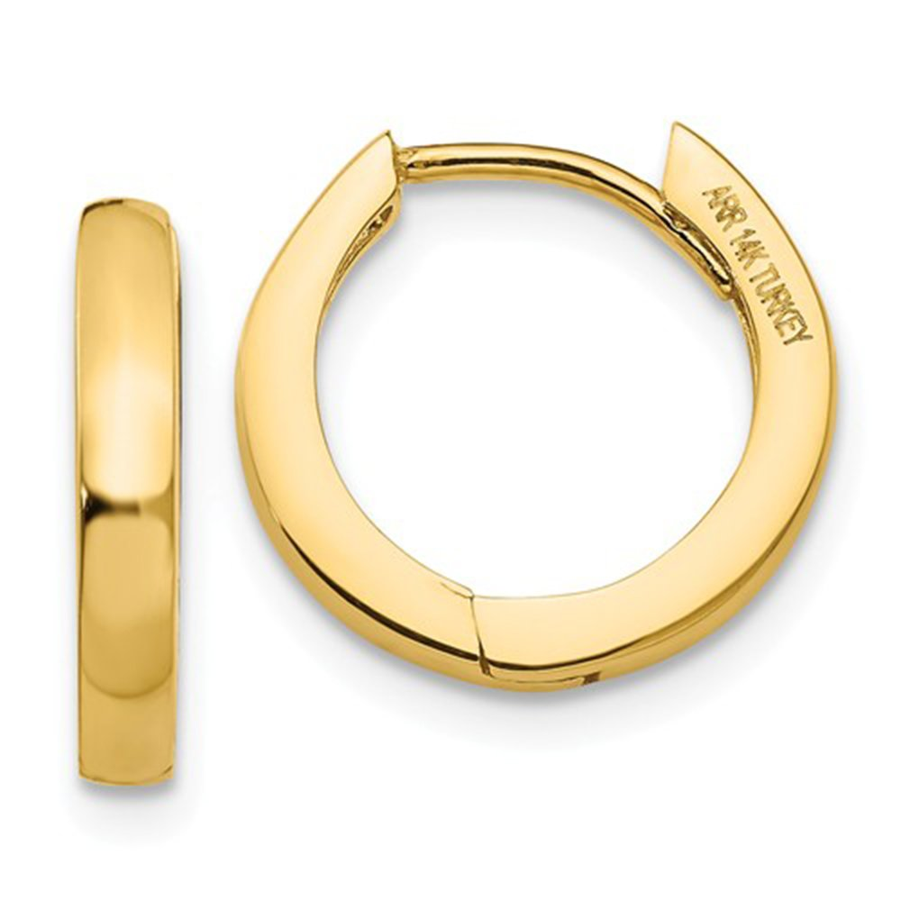 Small 14K Gold Hinged Huggie Hoop Earrings, .40 In (10mm) (2.5mm Wide) (Yellow Gold)