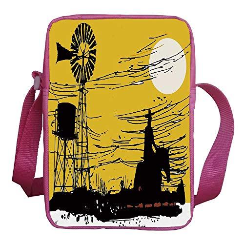 Windmill Decor Stylish Kids Crossbody Bag,Australian Outback Inspired Artwork Cowboy on Horse at Sunset for Girls,9