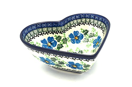 Polish Pottery Bowl - Deep Heart - Morning Glory