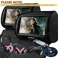 XTRONS Black 2x Twin 9 Touch Screen Car Headrest DVD Player Games &Pink Children Headphones Included