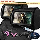 XTRONS Black 2x Twin 9'' Touch Screen Car Headrest DVD Player Games &Pink Children Headphones Included