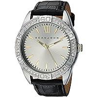 Sean John Men's 'Bond' Quartz Metal and Leather Dress Watch, Color:Black (Model: SJC0171003)