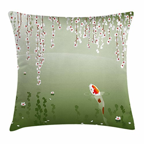 Lunarable Koi Fish Throw Pillow Cushion Cover, Japanese Koi Fish Painting Style Hanging Cherry Flowers Floating Leaves, Decorative Square Accent Pillow Case, 24 X 24 Inches, Green Orange White ()
