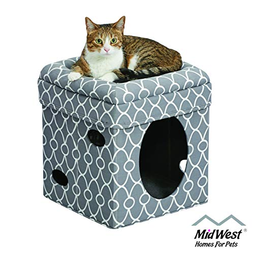 Cat Cube Cozy Cat House / Cat Condo in Fashionable Gray Geo Print 15.5L x 15.5W x 16.5H Inches from MidWest Homes for Pets
