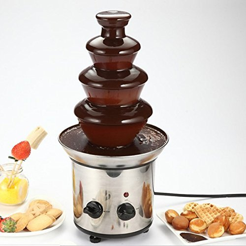 Yingte Chocolate Fountain,4 Tiers Mini Stainless Steel Fondue Waterfall Melting Machine Kitchen Appliance